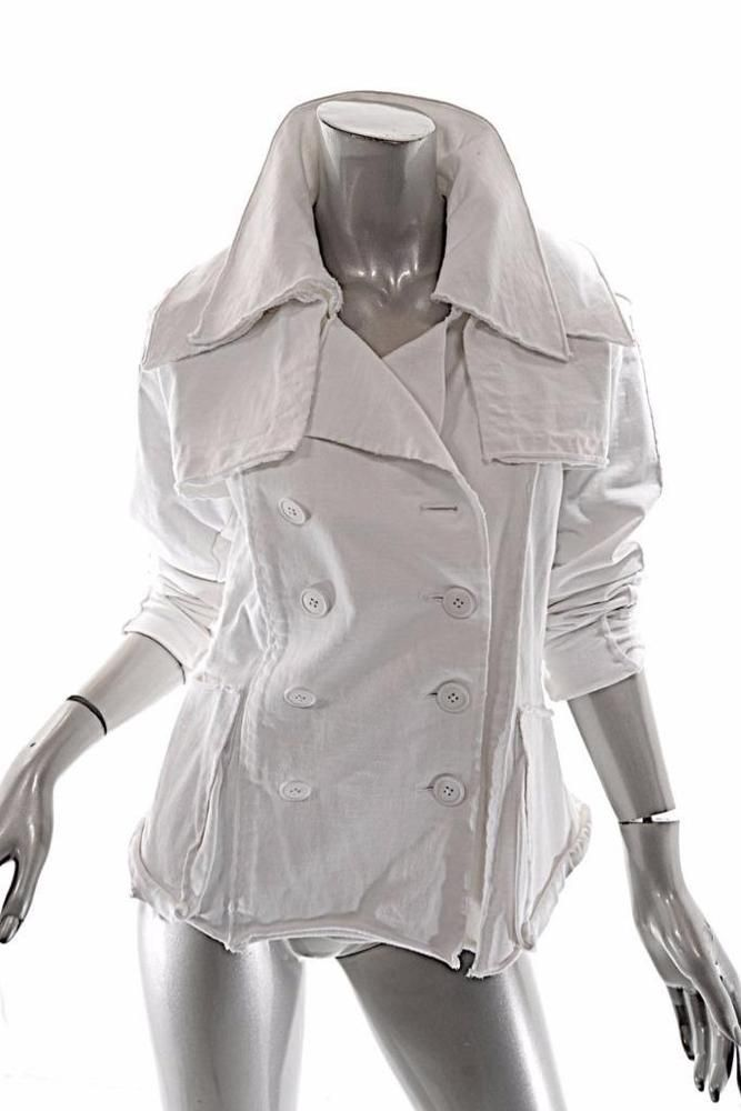 RUNDHOLZ DIP White 100% cotton Convertible D/B Jacket/Vest w/Trench Detail - Med #RundholzDip #DBVestJacket #Casual