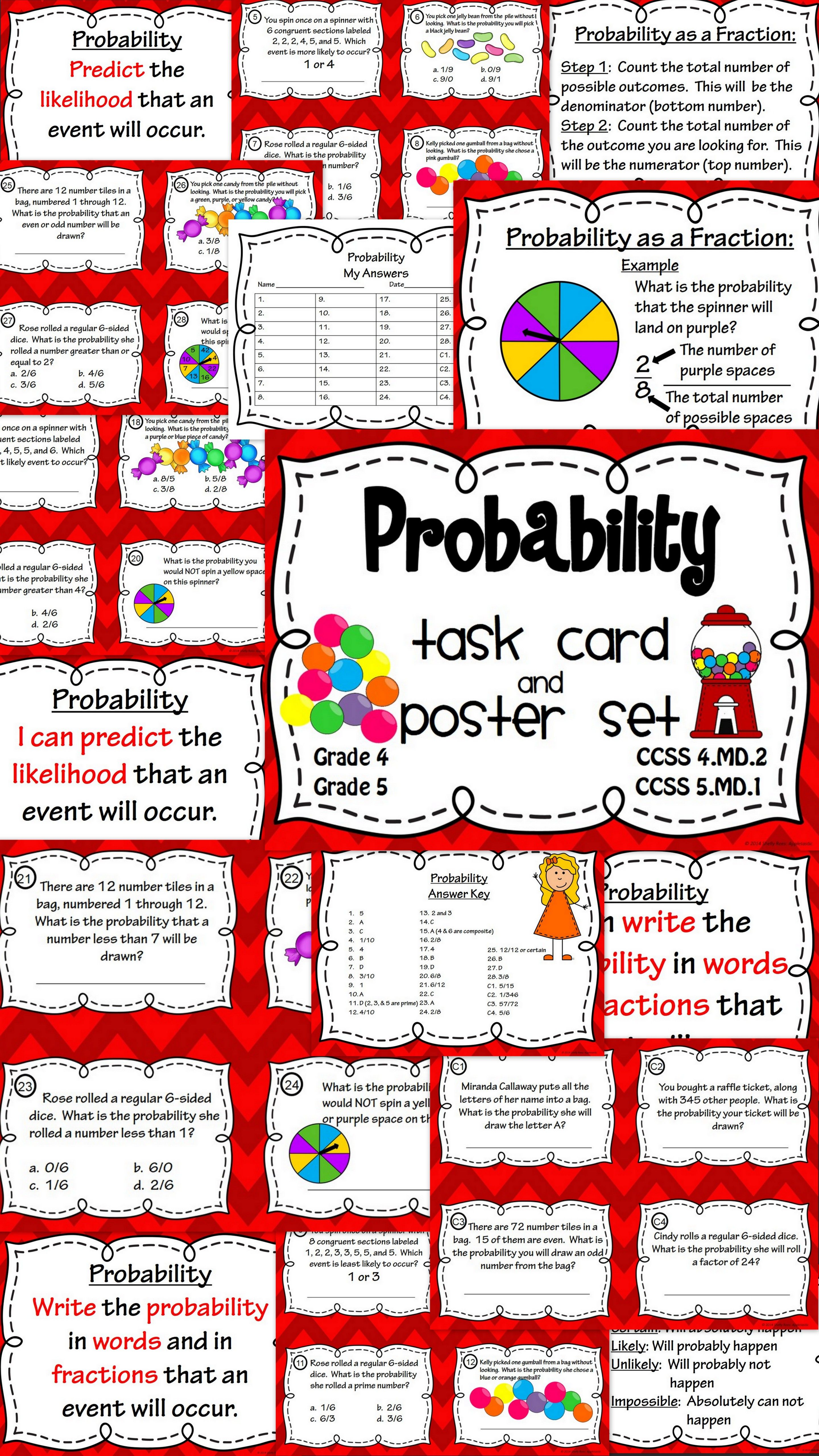 Probability task cards and poster set probability activities probability task card and poster set perfect for math centers and classroom games like scoot ccuart Image collections