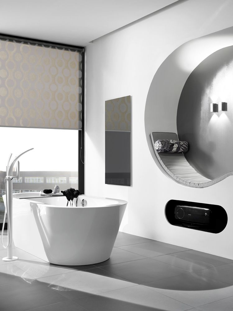Ir Heating Panel Installed In A Modern Bathroom Black Glass A Stylish Electric Heater That Will Complement A Bathroom Heater Modern Bathroom Bathroom Design