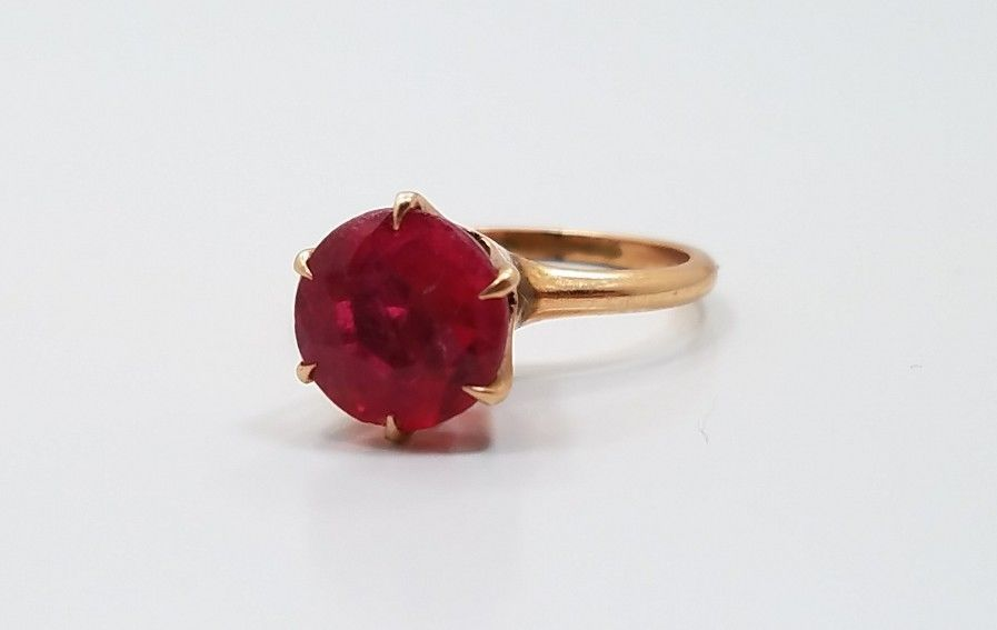 Vintage Beautiful 10k Yellow Gold Red Glass Single Stone Ladies Ring Size 4 75 Ebay Women Rings Gold Rings