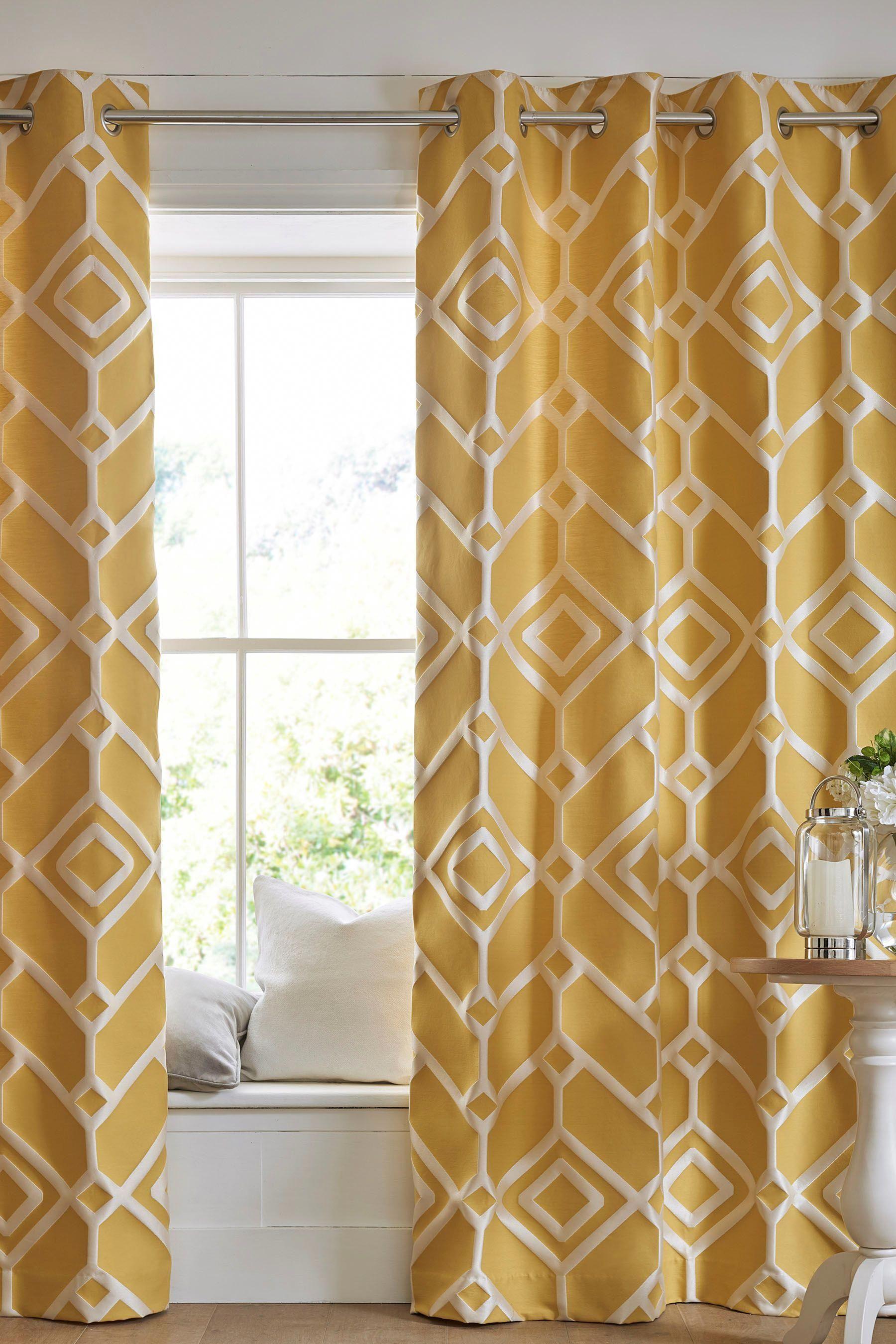 Next Lattice Geo Eyelet Curtains Yellow
