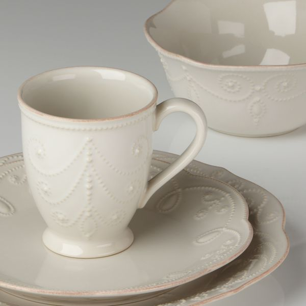 French Perle Bead White Dinnerware Place Setting + FREE Bowl by Lenox & French Perle White 4-pc Place Setting | Lenox | Alpine Decor ...