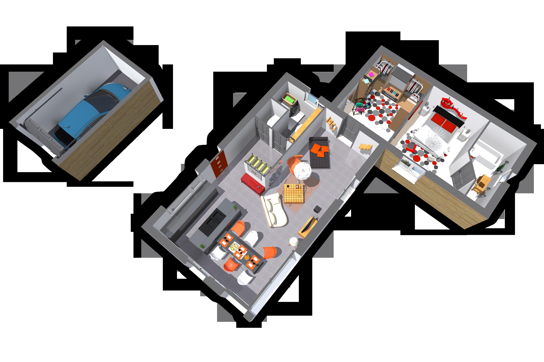 L'intérieur du modèle Confort + est identique à celui du modèle confort, il comporte une magnifique cuisine ouverte sur le salon qui se veut spacieux. Cette maison contient également à superbe dressing avec accès à la chambre.