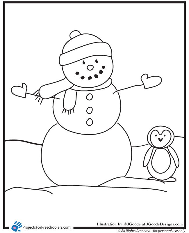 snowman and penguin Coloring Page Preschool coloring