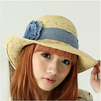 44174b4276d Denim flower straw hat for women wide brim sun hats summer wear