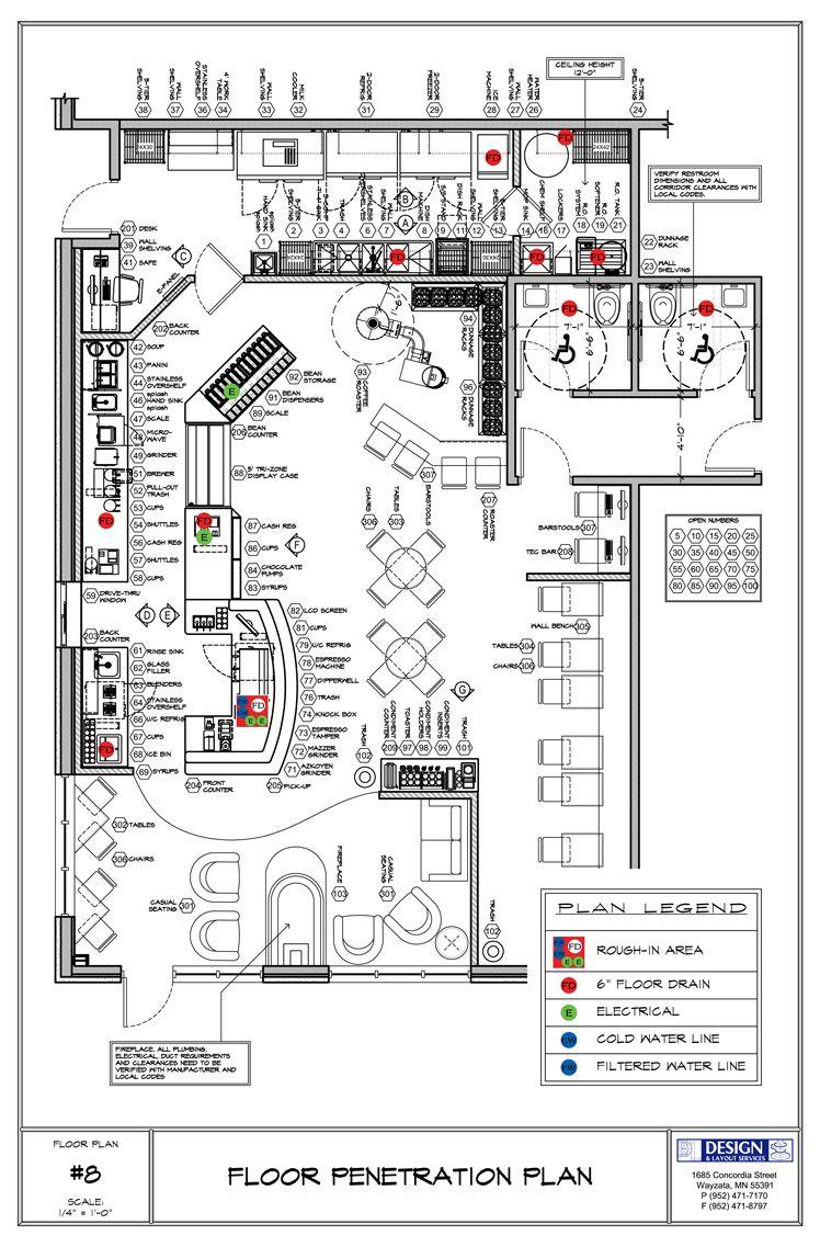 Cafe floor plan showing floor stub-ups | cafe | Pinterest | Cafes ...