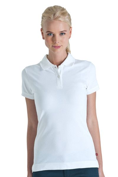 1177c7c43cf Short Sleeve White 2 Button Polo Shirt - Dickies Girl