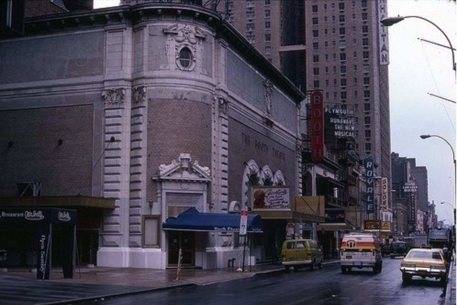 Broadway marquee For Colored Girls (Booth Theatre) Runaways (Plymouth Theatre) Grease (Royale Theatre)