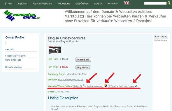 Webseiten Werte auf Webseiten Markt prüfen...alle Veränderungen auf dem Webseiten Marktplatz im Detail...