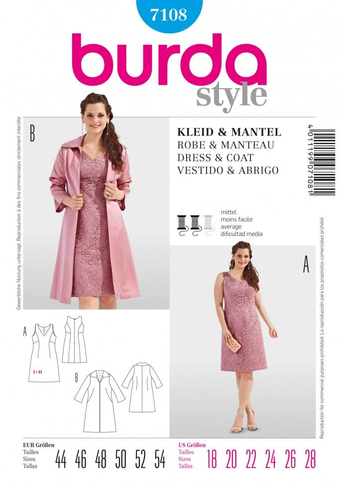 Burda Ladies Plus Sizes Sewing Pattern 7108 - Dress & Coat Suit ...