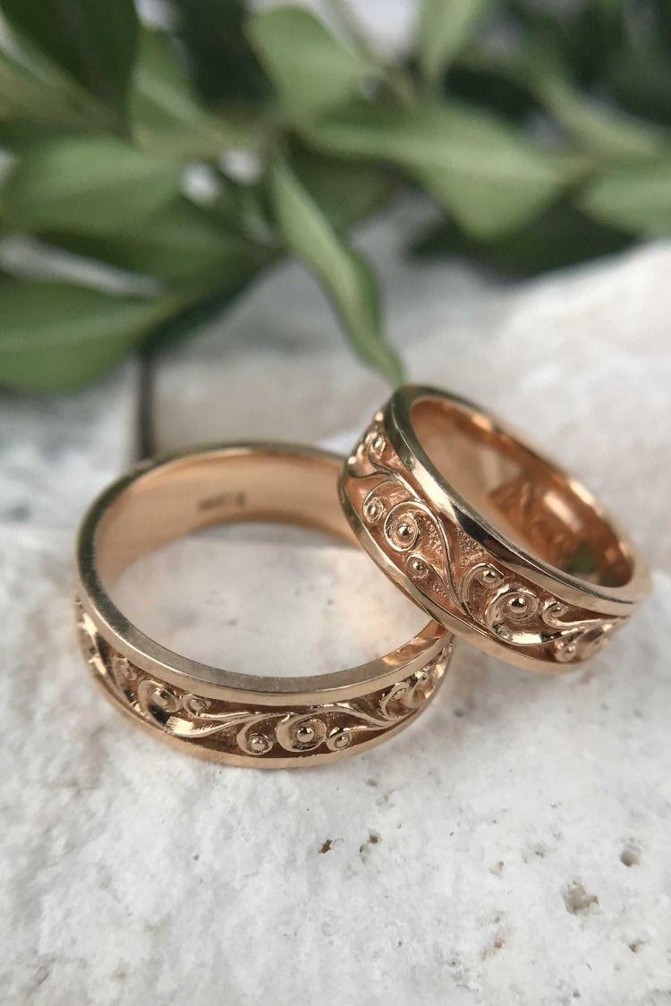 Unique Filigree Diamond Matte Gold Wedding Band Set Floral 14k Gold Wedding Ring Set Gold Wedding Band Sets 14k Gold Wedding Ring Set Wedding Rings Sets Gold