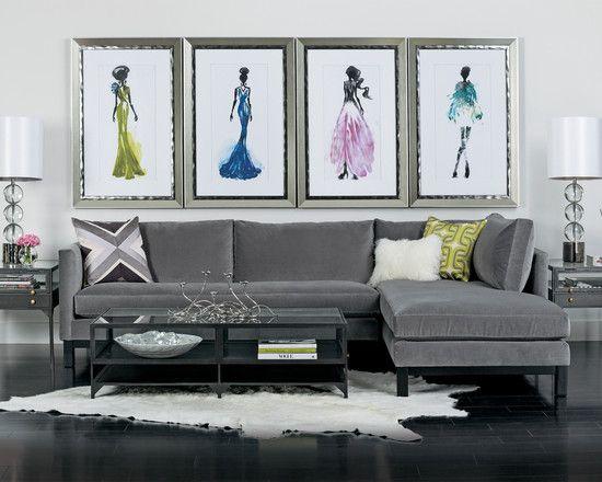 Wonderful Mongolian Sheepskin Pillows And Rugs: Modern Living Room Gray L  Shape Sofa With Mongolian