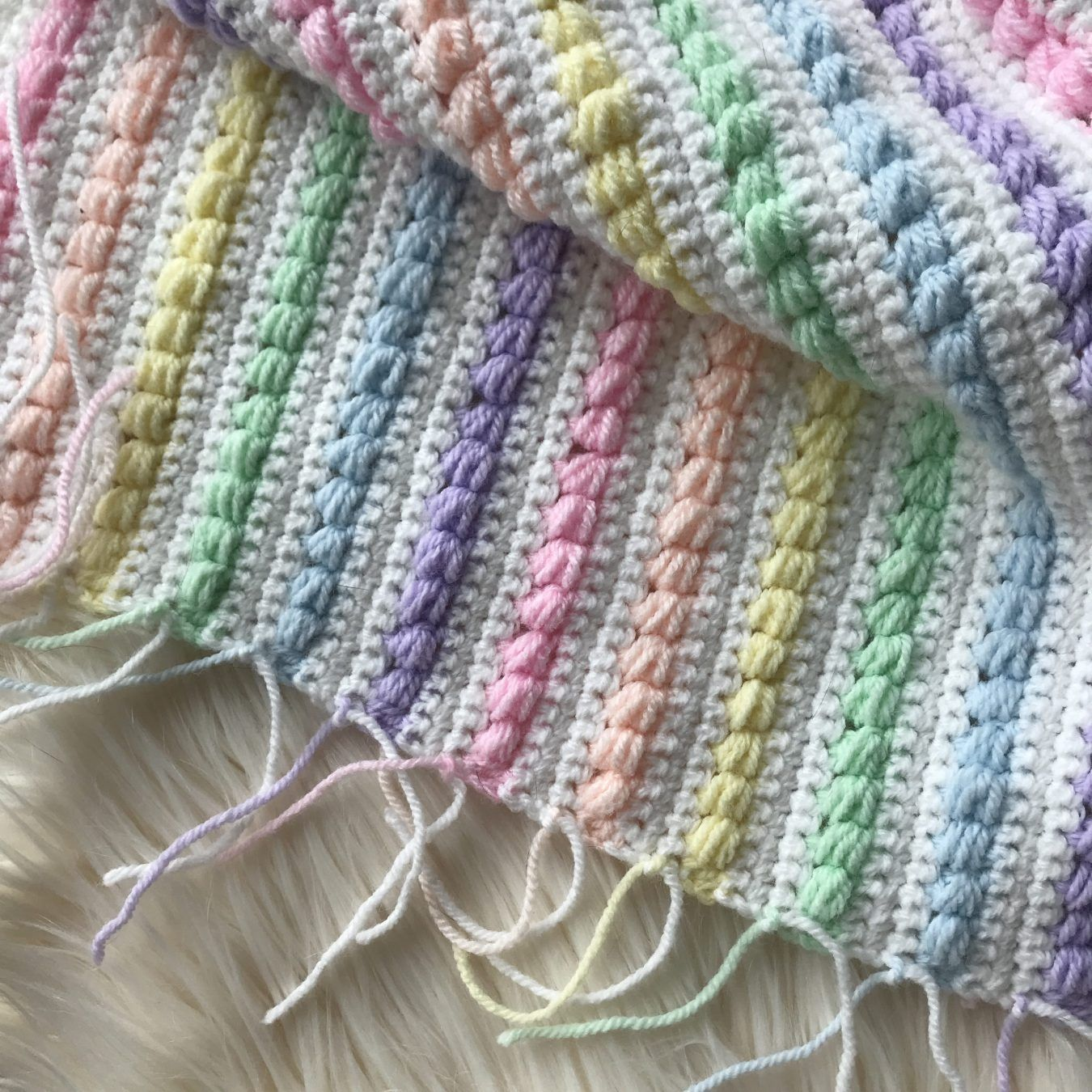Rainbow Puff Baby Blanket