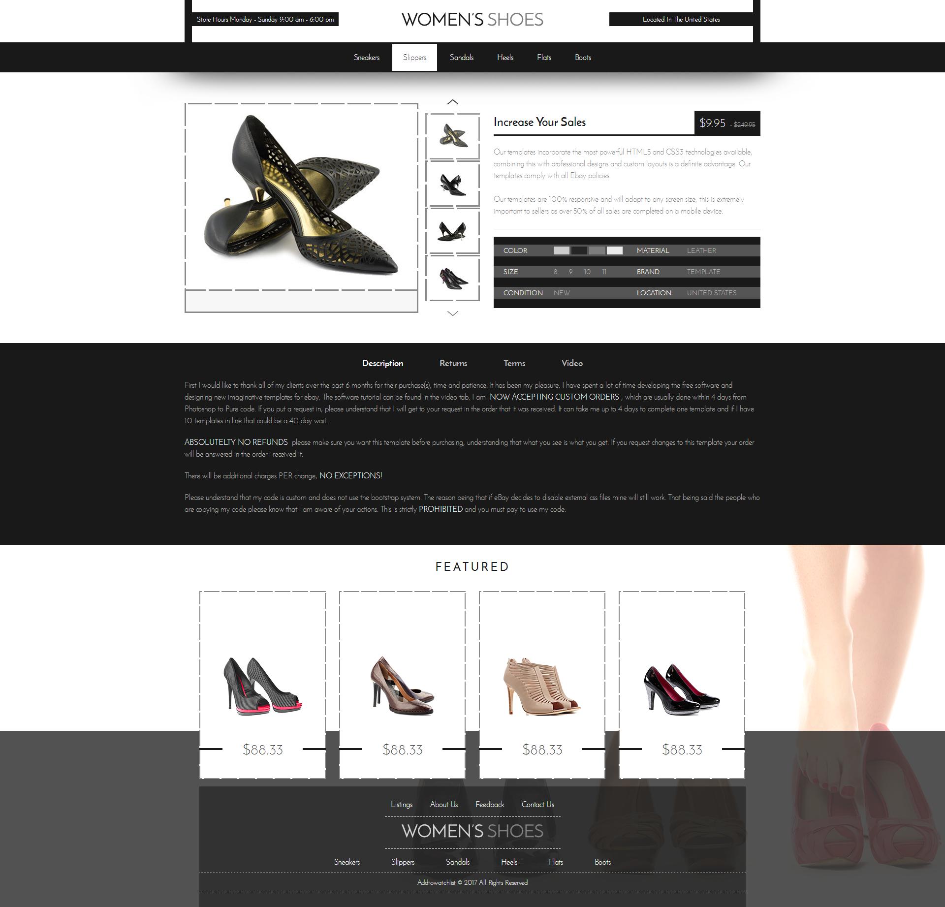 2020 Compliant Mobile Responsive Ebay Auction Listing Template Html Women Shoes Ebay Ebay Templates Templates Mobile Responsive