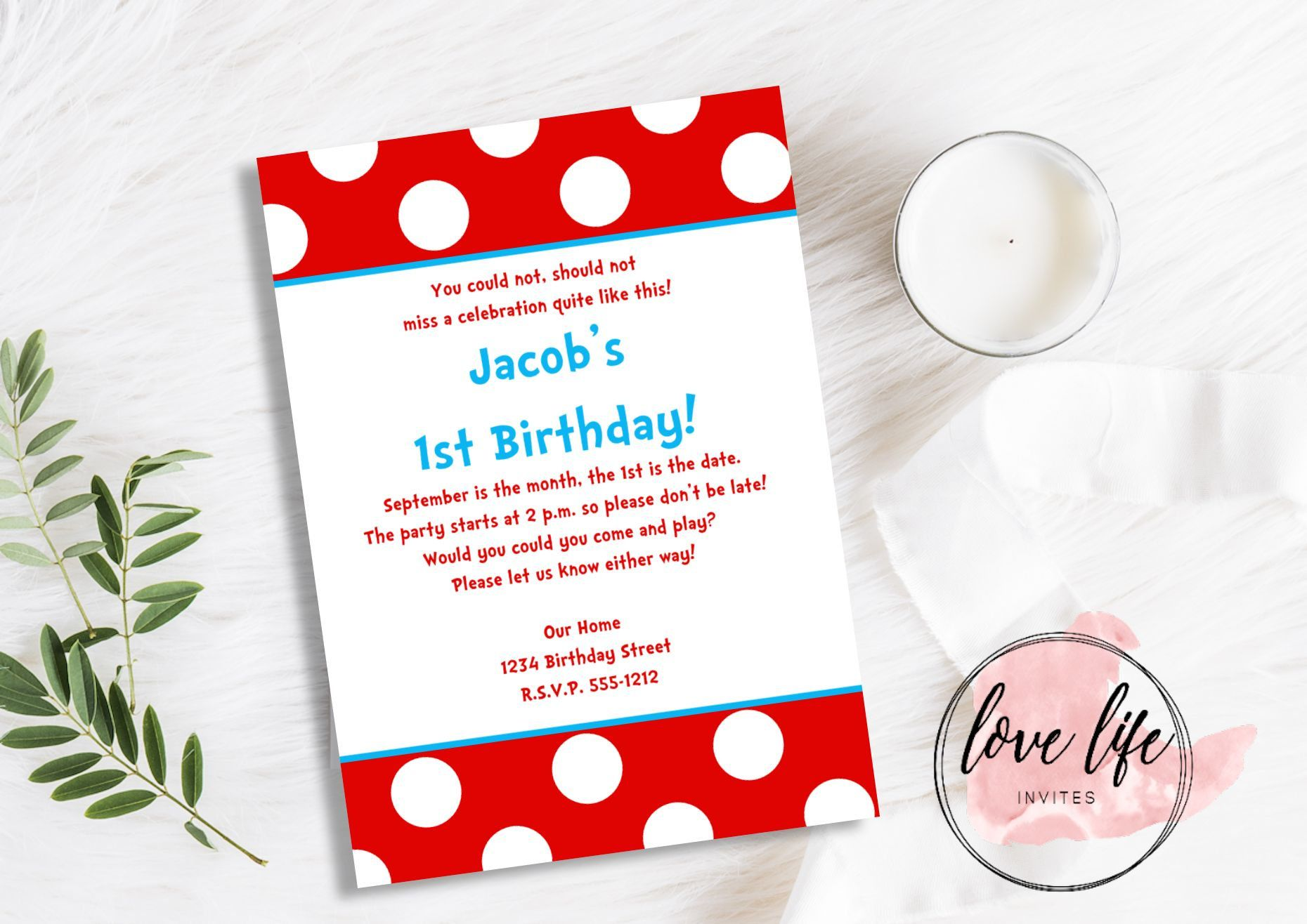 Dr Seuss Inspired Birthday Invitation | Cat in the Hat Birthday ...