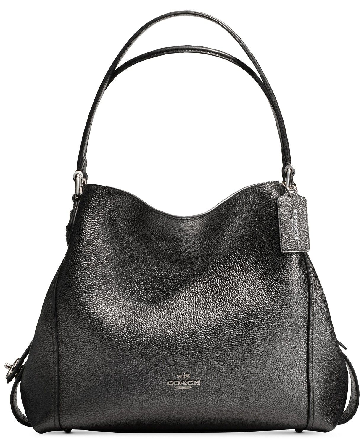 df9ba0bcb COACH's Edie shoulder bag expertly balances fashion and function with a  unique multi-compartment design in luxe metallic leather.