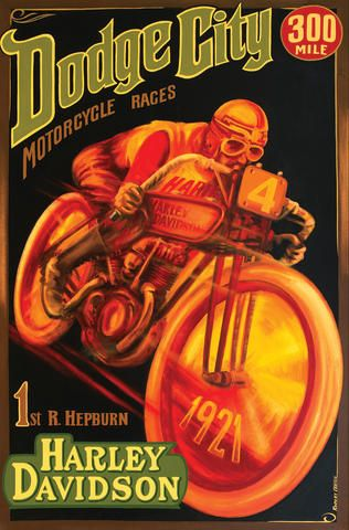 Robert Carter Harley Davidson At Dodge City 48 X 72 Ins