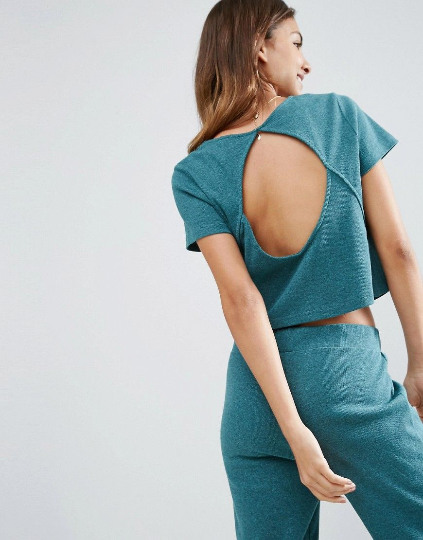 3a8c7165c8fb ASOS LOUNGE Ribbed Short Sleeve Open Back Tee - Green