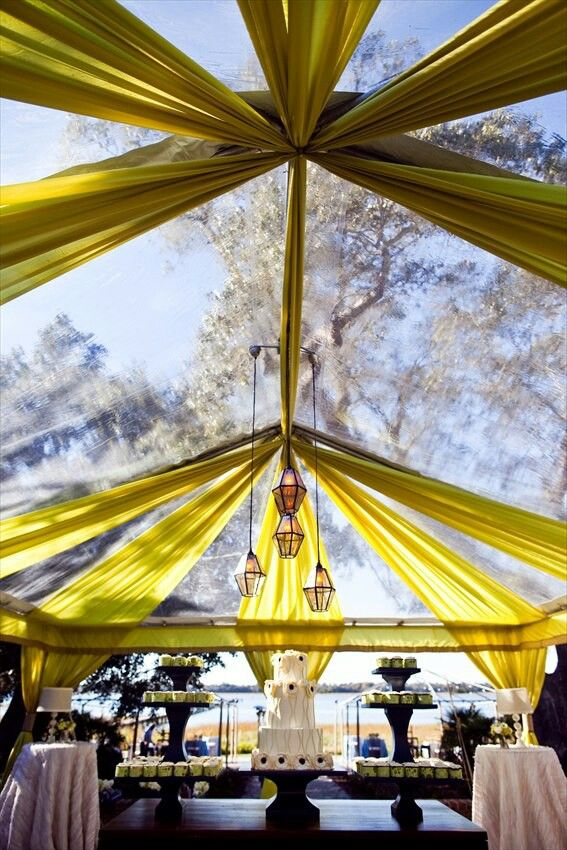 Here's an example of a clear tent and fabrics… Maybe white
