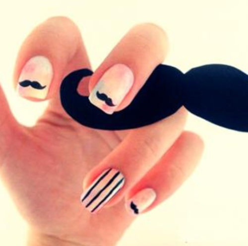 mustache nails for natalie :)