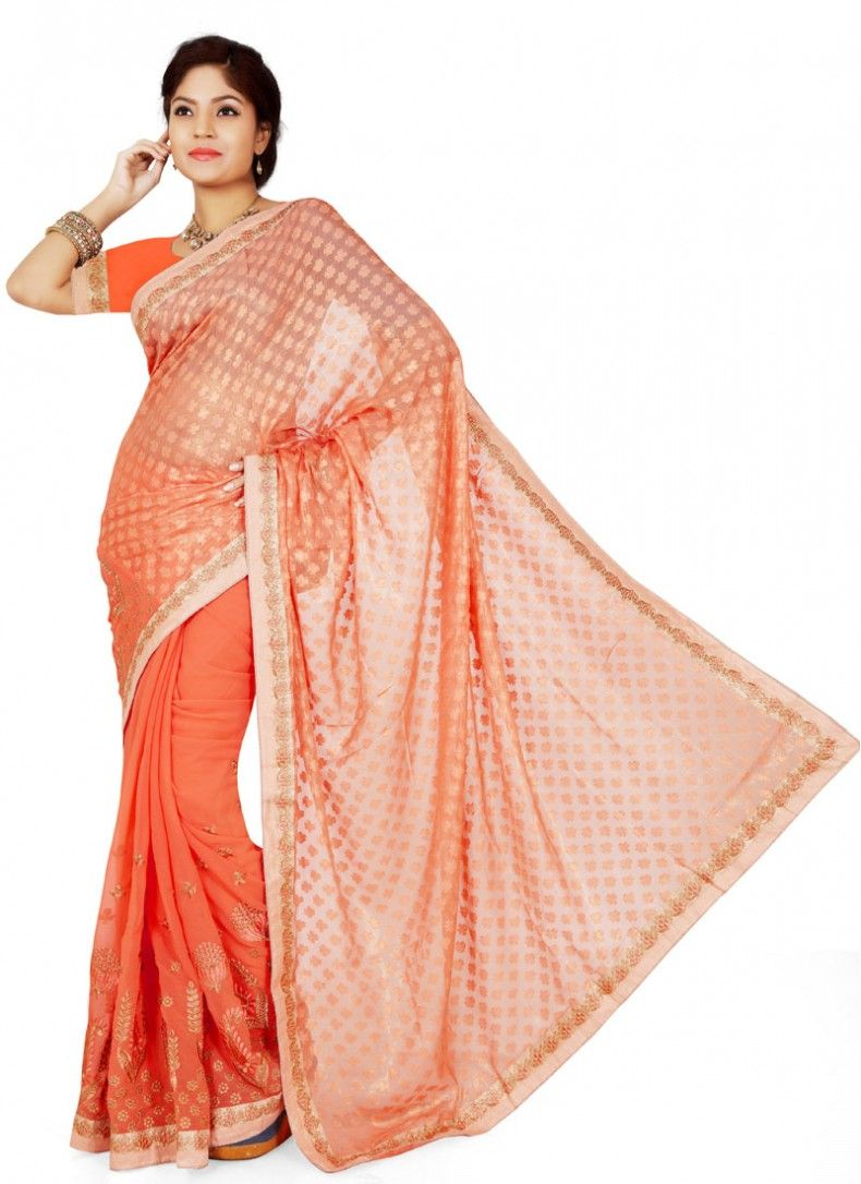 Modish Peach Brasso Georgette Casual Saree
