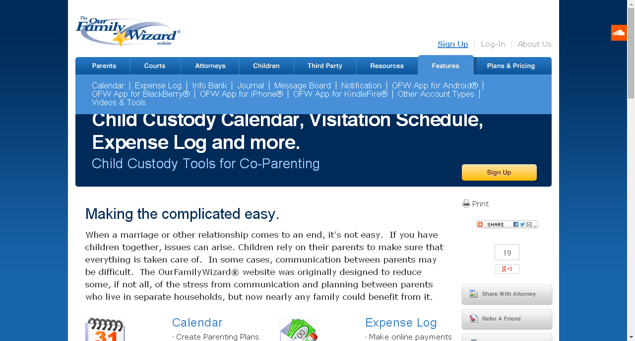 Child Custody Calendar Visitation Schedule Expense Log And More Our Family Wizard Paing Time