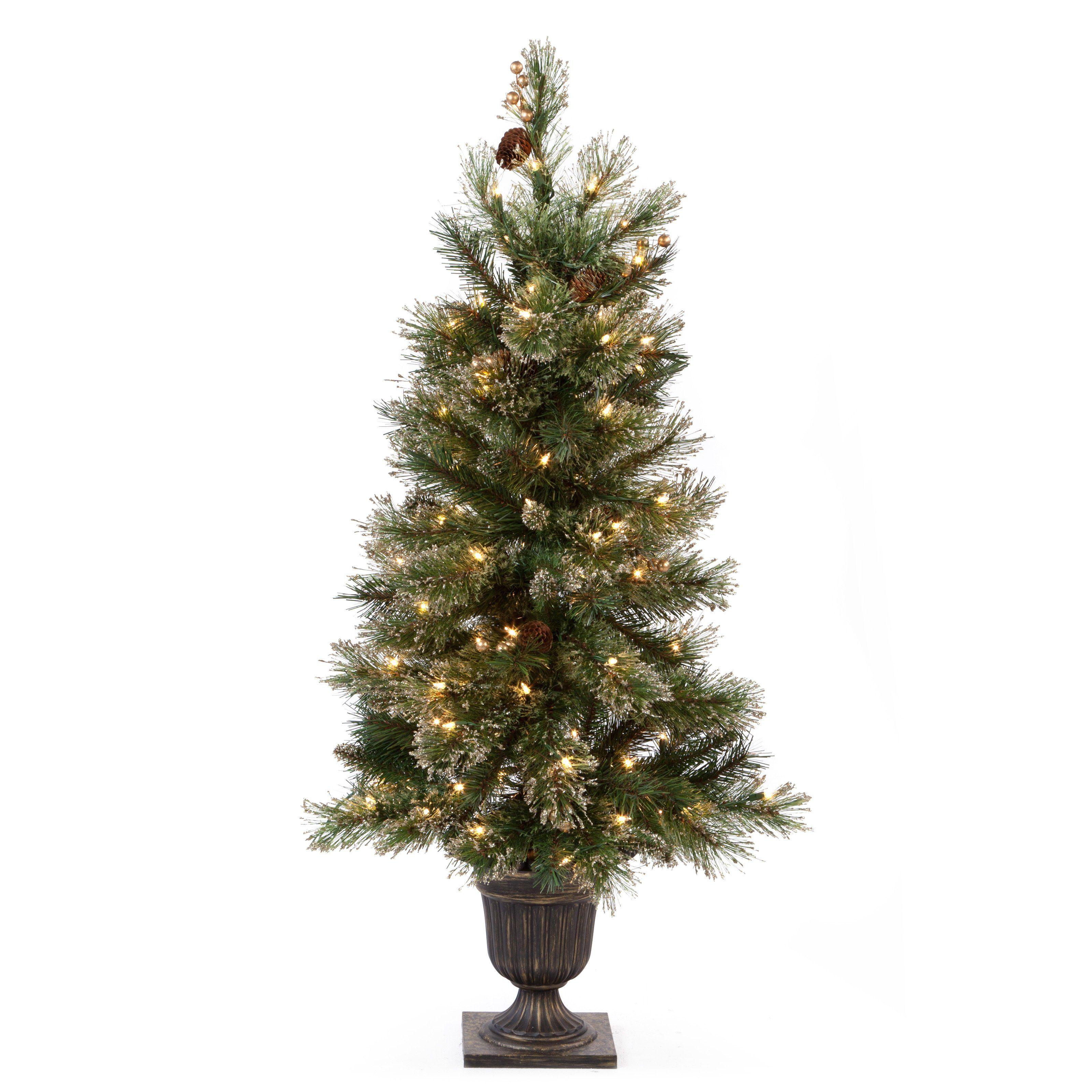 Apartment Tree! 4 ft. Glittery Gold Pine PreLit Entrance
