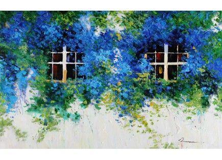 Quadri dipinto a mano finestre con cascata di fiori azzurri quadro dipinto su tela con - Quadri con finestre ...