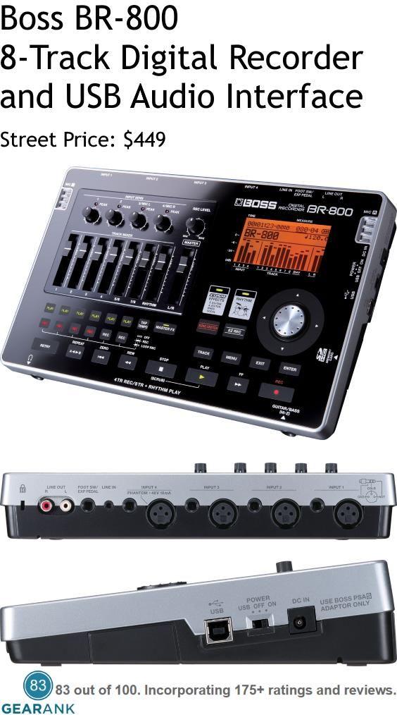 Boss Br 800 8 Track Digital Recorder Usb Audio Interface