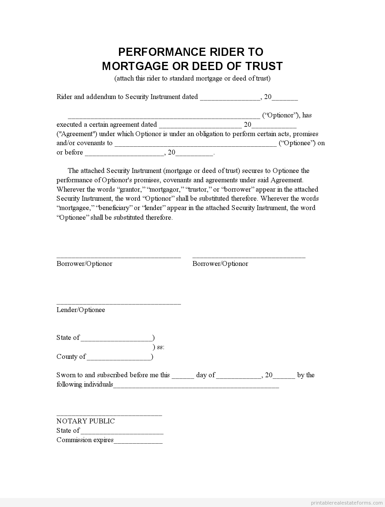Printable Perf Mortgage Addendum  Template   Sample Forms