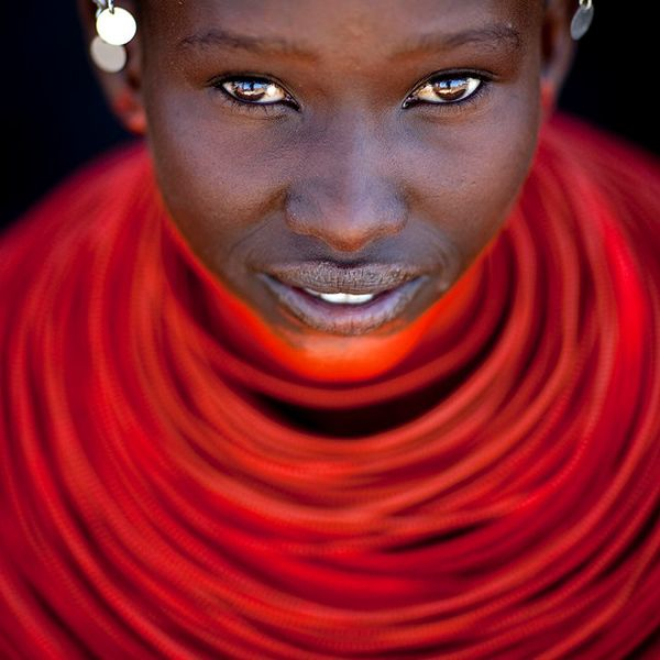 Samburu young girl with red neckalce - Kenya    The red color she wears means she is ready to be married.