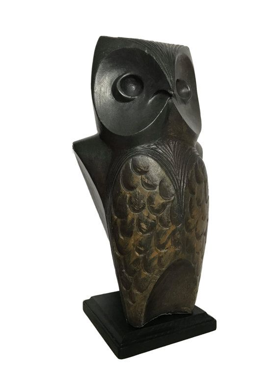 Vintage Bronze Painted Plaster Sculpture of a Large Owl, by ...