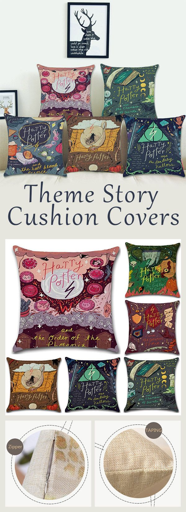 Sofo magical style cotton linen throw pillow case theme story square