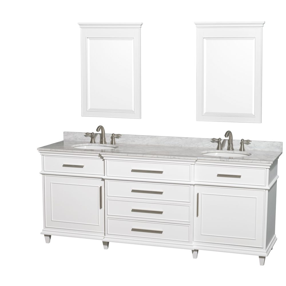 Berkeley 80 Inch White Double Sink Bathroom Vanity