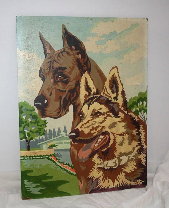 Vintage Paint By Numbers Two Dogs Great Dane And German Kam