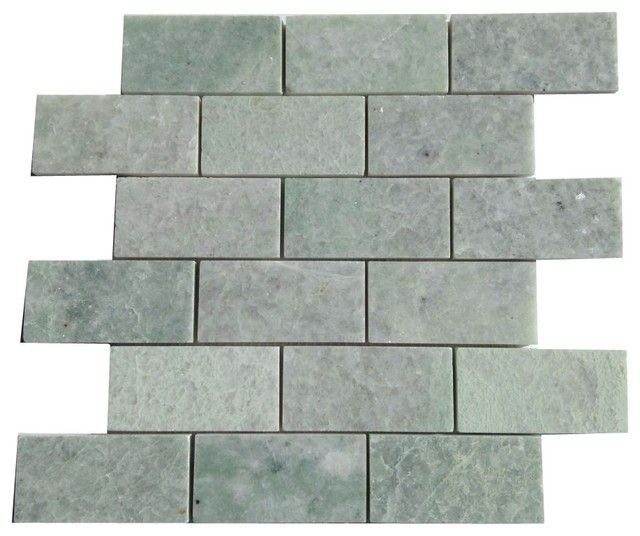 2x4 Ming Green Marble Brick Polished Mosaic Tiles On 12x12 Mesh