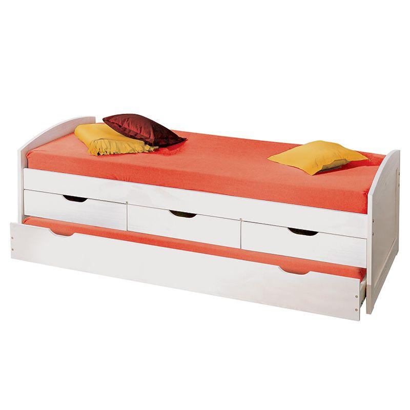Sof cama solteiro ulisses na cor branco com 3 gavetas for Cama funcional