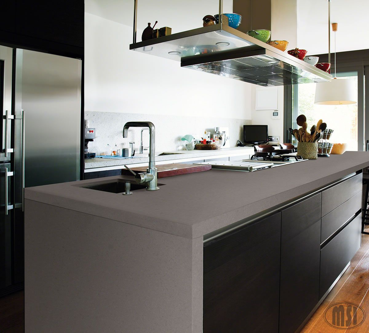 Heat up your kitchen with this amazing waterfall edge quartz countertop in  Concerto - such a