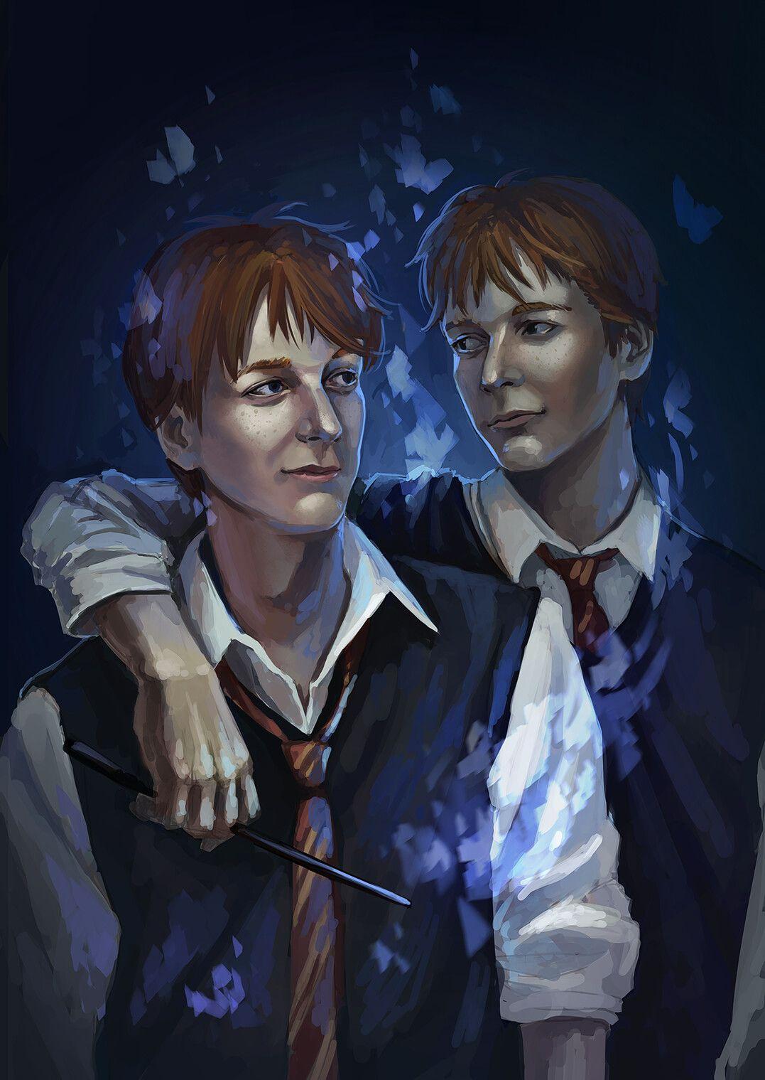 Artstation Weasley Twins Daria Davydova Harry Potter Illustrations Harry Potter Artwork George Weasley Fan Art