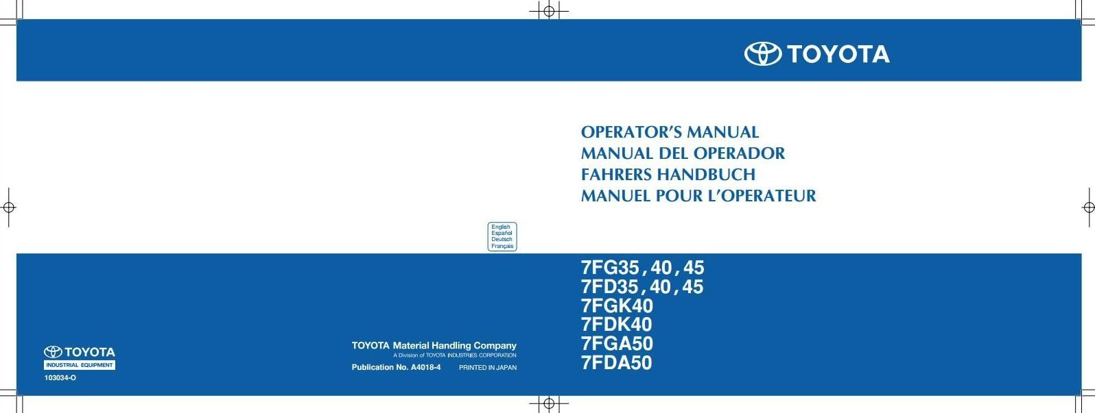 Toyota Truck 7fg35 40 45 7fd35 7fgk40 7fdk40 7fga50 Electric Forklift Wiring Diagrams Type 7fg 7fd Original Factory Manuals For Bt Forclift Trucks Contains High Quality Images Circuit And Instructions
