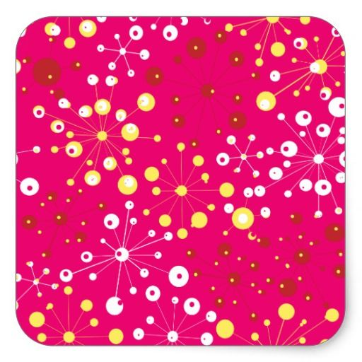 Coral & Yellow Fine Abstract Square Sticker