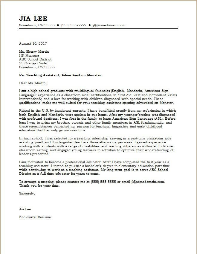 Cover Letter Template Education Resume Format