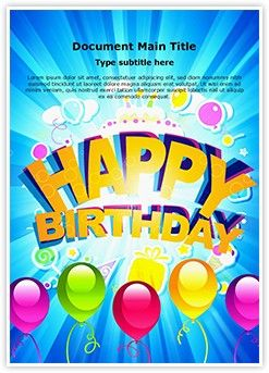 Happy Birthday Abstract Word Document Template is one of the best ...