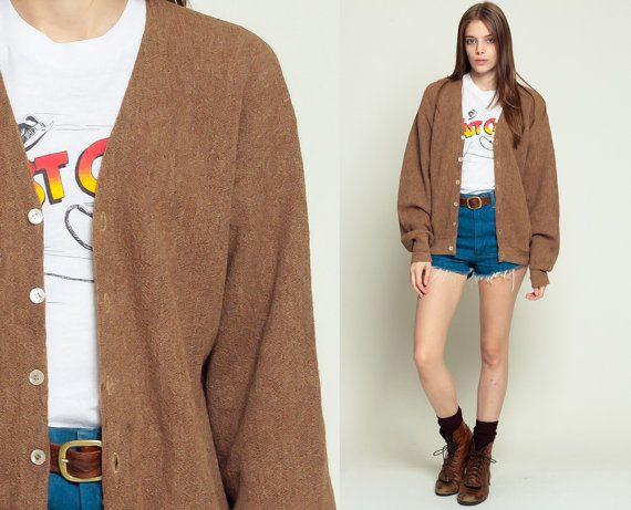 Brown Wool Sweater Grandpa Cardigan Sweater 80s Brown Grunge ...