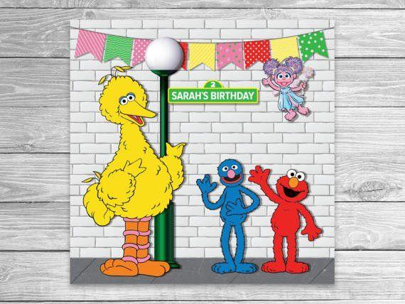 Sesame Street Birthday Photo Station Backdrop