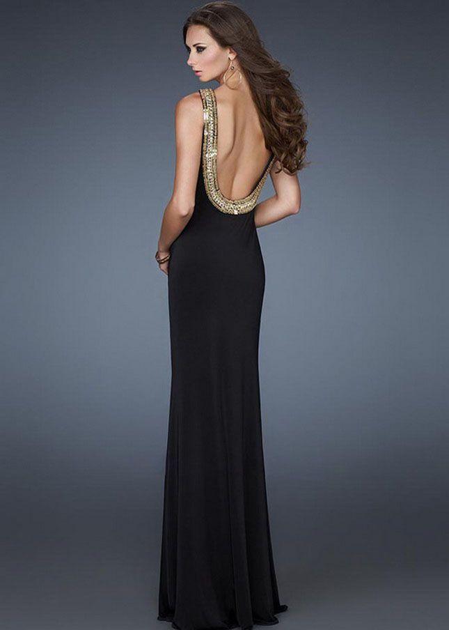 Gold Sequin Halter Neck Black Long Prom Dress For Sale | Halloween ...