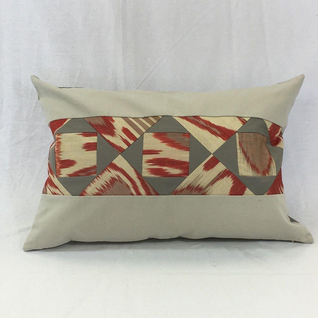 """Anor (Pomegranate) Ikat Patchwork-18"""" X 18"""" Lumbar Pillow Cover ..."""