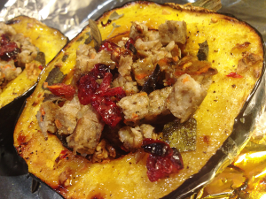 Happy Thanksgiving! Acorn Squash Stuffed with Sol Cuisine's Mushroom Rice Burger, Topped with Candied Pecans and Dried Cranberries