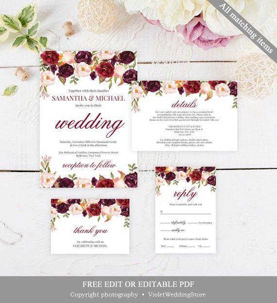 Marsala Wedding Invitation Set Template Printable Burgundy Wedding