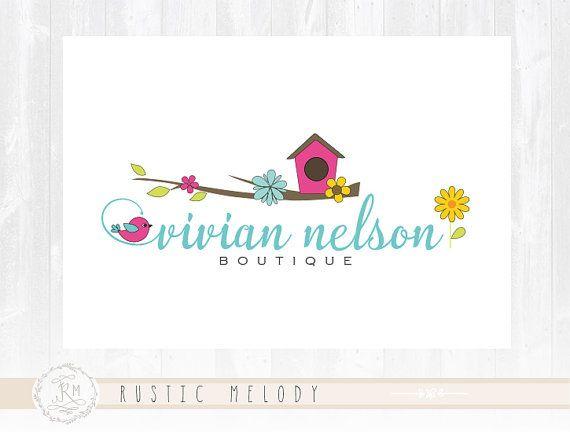 Bird House Logo Design Children Logo Floral Logo Fashion Kids Logo Watermark Photography Logo Boutique Logo